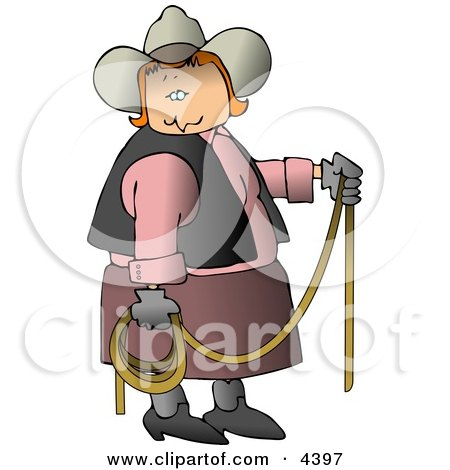 Redhead Cowgirl Holding a Lasso Rope Clipart by djart