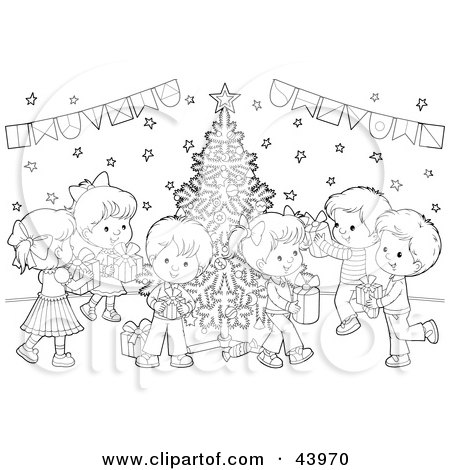Clipart Illustration of a Black And White Children With Gifts At A Christmas Party Coloring Page ...