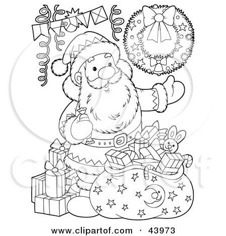 Clipart Illustration of a Black And White Santa Claus With Toys And A Sack Coloring Page by Alex Bannykh