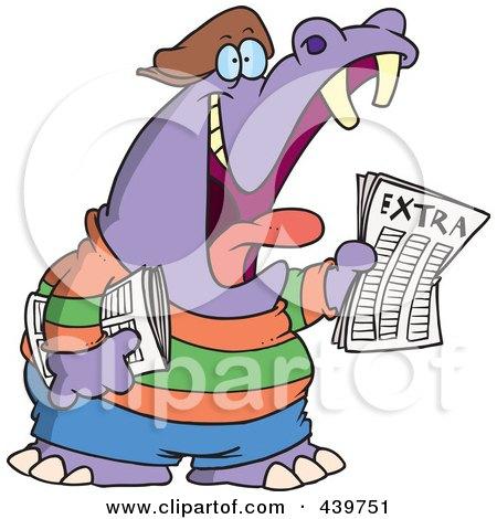 Royalty-Free (RF) Clip Art Illustration of a Cartoon Newsie Hippo by toonaday