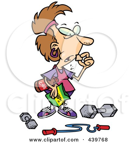 Royalty-Free (RF) Clip Art Illustration of a Cartoon Woman Pigging Out Instead  Of Exercising by toonaday