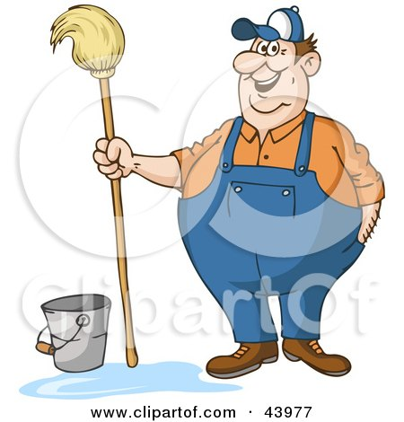 Clipart Illustration of a Friendly Male Custodian Standing By A Bucket And Holding A Mop by Holger Bogen