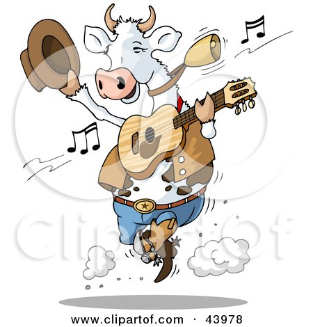 Clipart Illustration of a Dancing Cow Playing Country Music With A Guitar by Holger Bogen