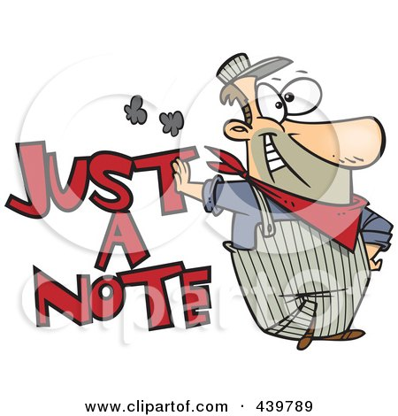Royalty-Free (RF) Clip Art Illustration of a Cartoon Engineer Leaning On Just A Note Text by toonaday