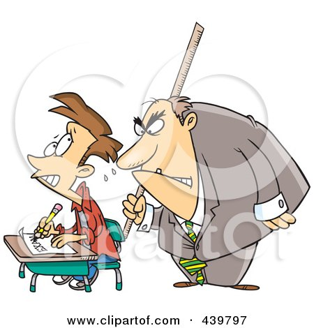 Royalty-Free (RF) Clip Art Illustration of a Cartoon Intimidating Teacher Watching A Stressed School Boy Taking An Exam by toonaday