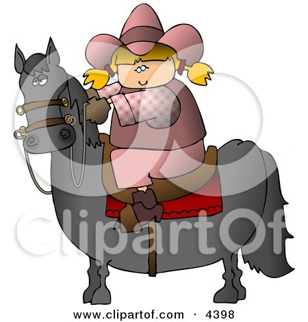 Teenage Cowgirl Riding a Saddled Horse with Reins Posters, Art Prints