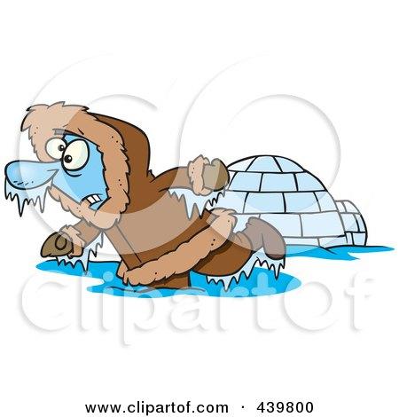 Royalty-Free (RF) Clip Art Illustration of a Cartoon Frozen Eskimo Near An Igloo by toonaday