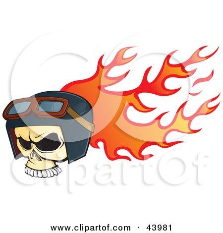 Flaming Biker Skull Wearing Goggles And A Helmet Posters, Art Prints