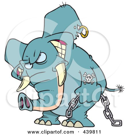 Royalty-Free (RF) Clip Art Illustration of a Cartoon Evil Elephant Carrying A Chain by toonaday