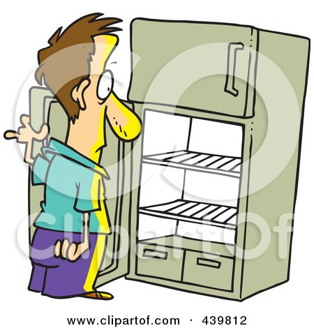 Royalty-Free (RF) Clip Art Illustration of a Cartoon Man Staring In An Empty Fridge by toonaday