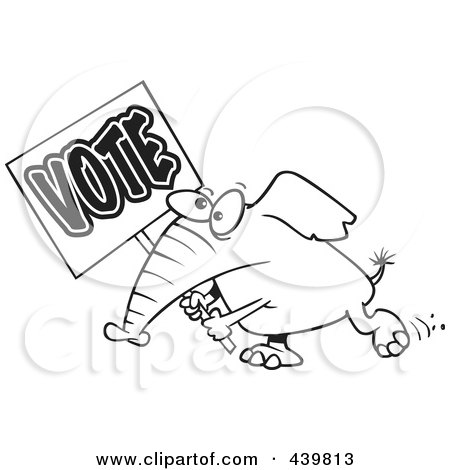 Royalty-Free (RF) Clip Art Illustration of a Cartoon Black And White Outline Design Of An Elephant Carrying A Vote Sign by toonaday