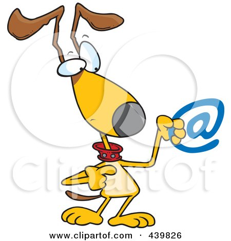 Royalty-Free (RF) Clip Art Illustration of a Cartoon Dog Pointing To An Email Symbol by toonaday