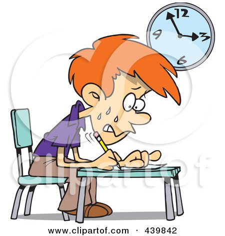 Royalty-Free (RF) Clip Art Illustration of a Cartoon Stressed School Boy Taking An Exam by toonaday