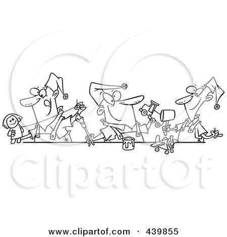 Cartoon Black And White Outline Design Of Three Christmas Elves Making Toys Posters, Art Prints