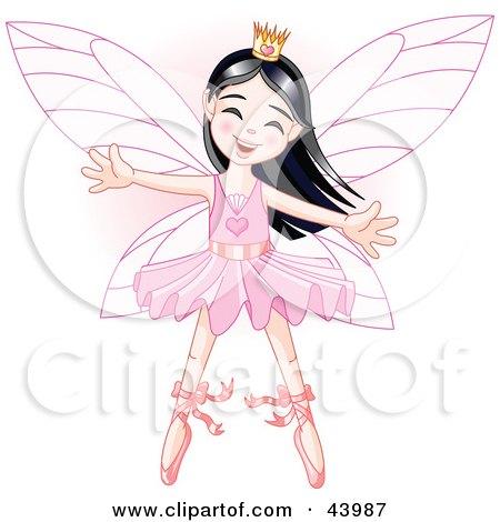Clipart Illustration of a Happy Asian Ballerina Fairy Princess Dancing by Pushkin