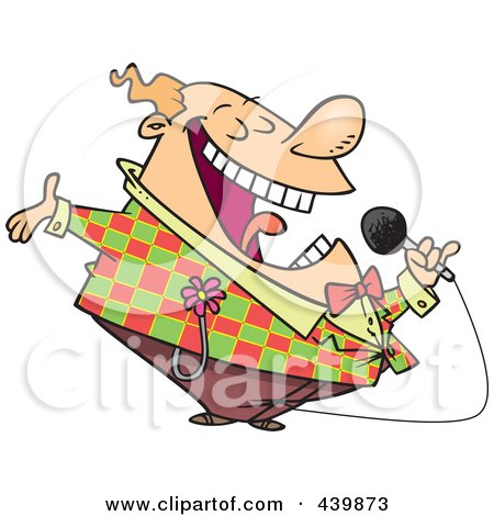 Royalty-Free (RF) Clip Art Illustration of a Cartoon Loud Entertainer by toonaday
