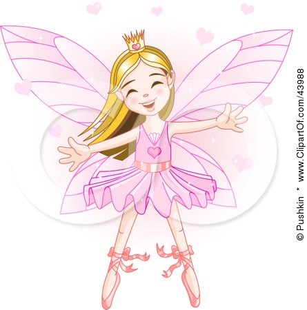 Clipart Illustration of a Happy Dancing Caucasian Ballerina Fairy Princess In Pink by Pushkin