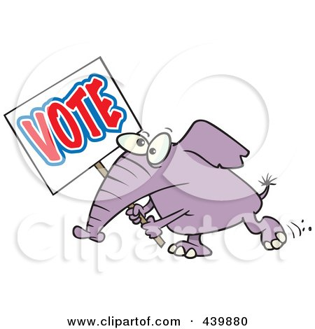 Royalty-Free (RF) Clip Art Illustration of a Cartoon Elephant Carrying A Vote Sign by toonaday