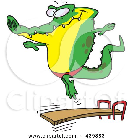 Royalty-Free (RF) Clip Art Illustration of a Cartoon Gator Bouncing Off A Diving Board by toonaday