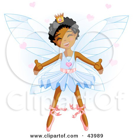 Clipart Illustration of a Happy Dancing African American Ballerina Fairy Princess In Blue by Pushkin