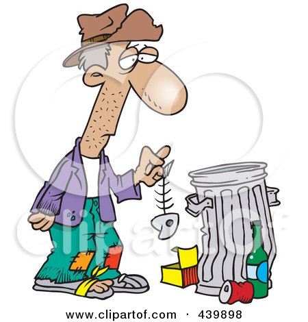 Cartoon Hungry Homeless Man Holding A Fish Bone By A Trash Can Posters, Art Prints