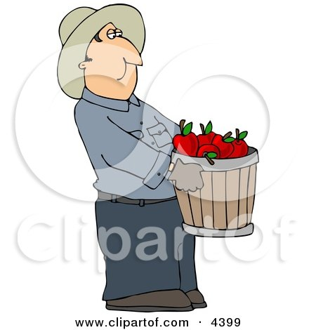 Cowboy Farmer Carrying A Pale Of Freshly Picked Red Apples Clipart