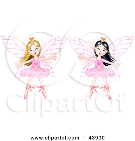 Clipart Illustration of Happy Asian And Caucasian Ballerina Fairy Princesses Dancing by Pushkin