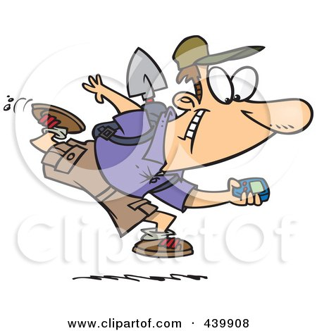 Royalty-Free (RF) Clip Art Illustration of a Cartoon Man Geocaching With A GPS Device by toonaday