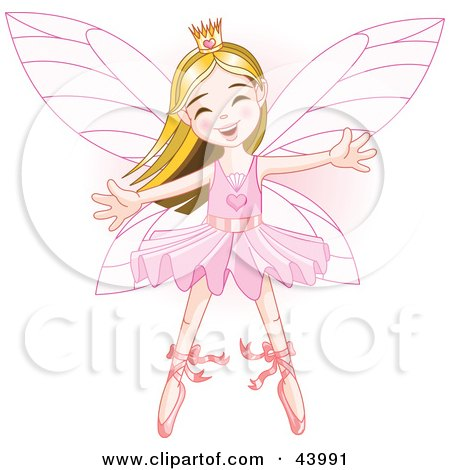 Clipart Illustration of a Happy Caucasian Ballerina Fairy Princess Dancing by Pushkin