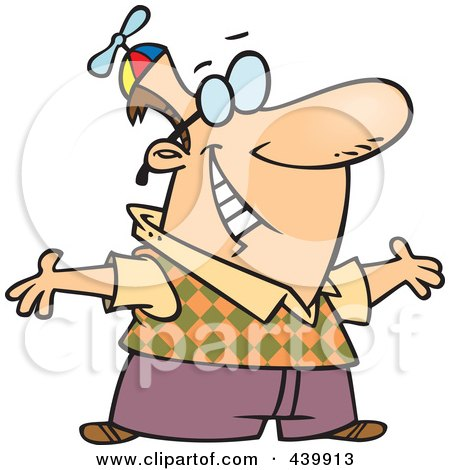 Royalty-Free (RF) Clip Art Illustration of a Cartoon Geeky Man Holding His Arms Open by toonaday