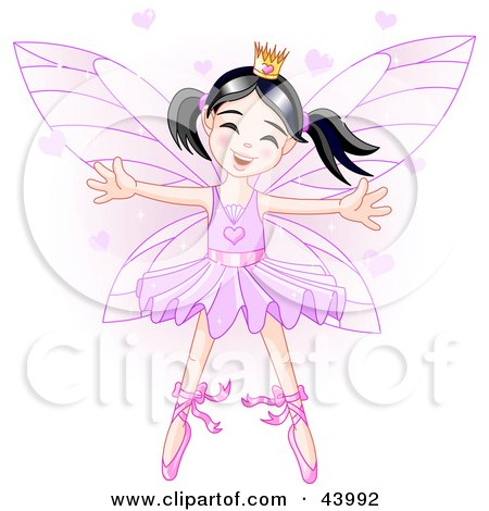 Clipart Illustration of a Happy Dancing Asian Ballerina Fairy Princess In Purple by Pushkin