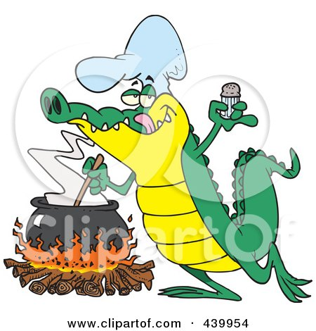 Royalty-Free (RF) Clip Art Illustration of a Cartoon Gator Making Soup by toonaday