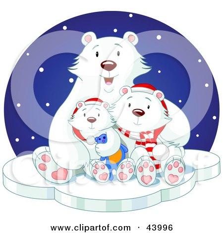 Clipart Illustration of a Happy Polar Bear Family Cuddling On Ice On A Snowy Winter Night by Pushkin