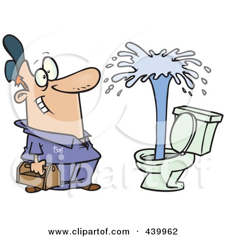 Royalty-Free (RF) Clip Art Illustration of a Cartoon Plumber Admiring A Geyser In A Toilet by toonaday
