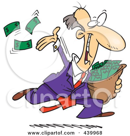 Royalty-Free (RF) Clip Art Illustration of a Cartoon Charitable Rich Businessman Throwing Money by toonaday