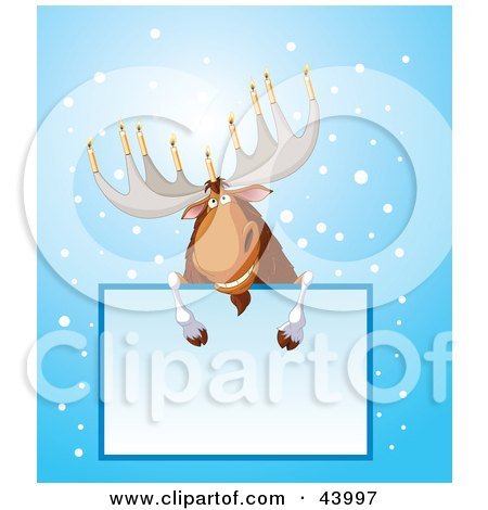 Clipart Illustration of a Hanukkah Moose With Menorah Antlers, Leaning Over A Text Box by Pushkin