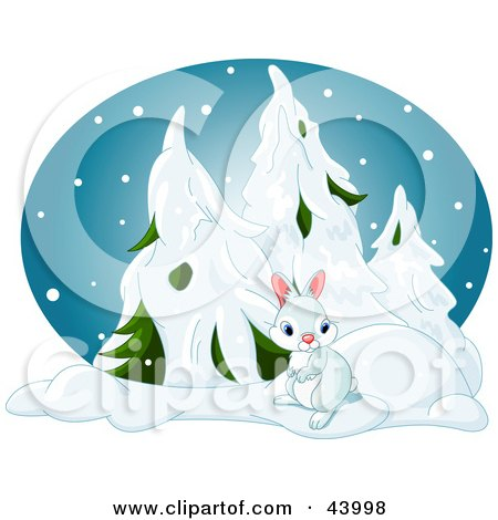 Clipart Illustration of a Cute Bunny Near Snow Flocked Evergreens In A Forest On A Snowy Winter Night by Pushkin