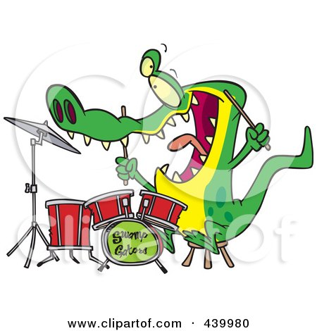 Royalty-Free (RF) Clip Art Illustration of a Cartoon Drummer Gator by toonaday