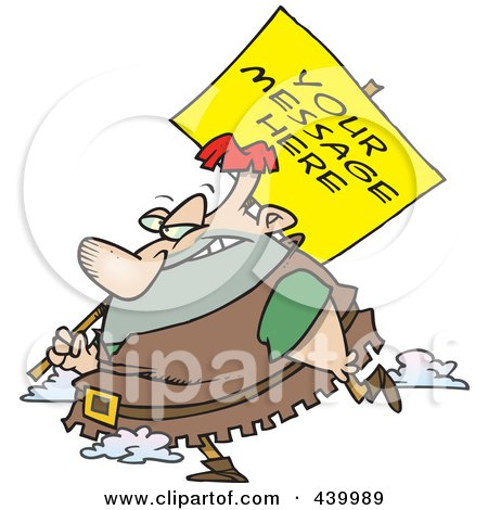 Royalty-Free (RF) Clip Art Illustration of a Cartoon Giant Carrying A Sign Over His Shoulder by toonaday