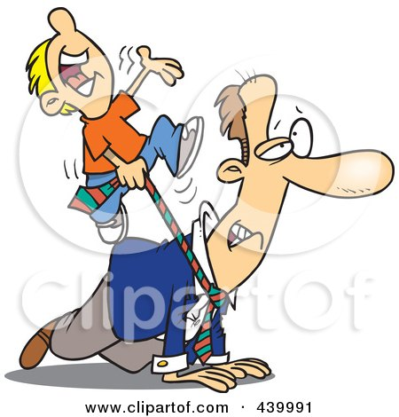 Royalty-Free (RF) Clip Art Illustration of a Cartoon Boy Riding On His Dad's Back by toonaday