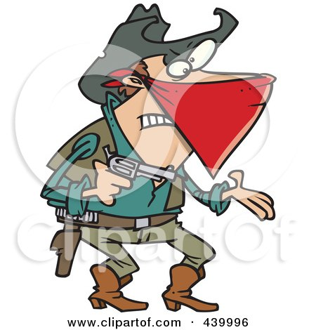 Royalty-Free (RF) Clip Art Illustration of a Cartoon Outlaw Cowboy Demanding by toonaday