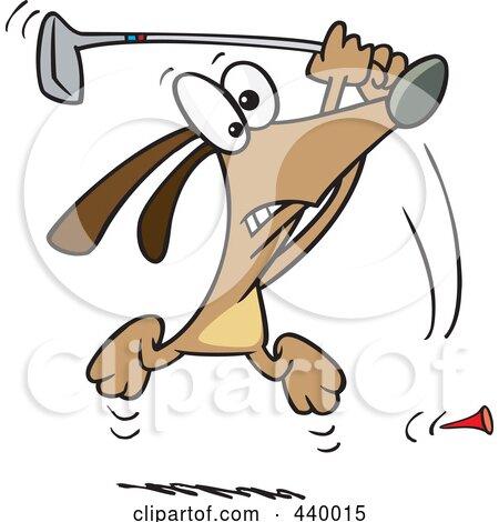 Royalty-Free (RF) Clip Art Illustration of a Cartoon Golfing Dog by toonaday