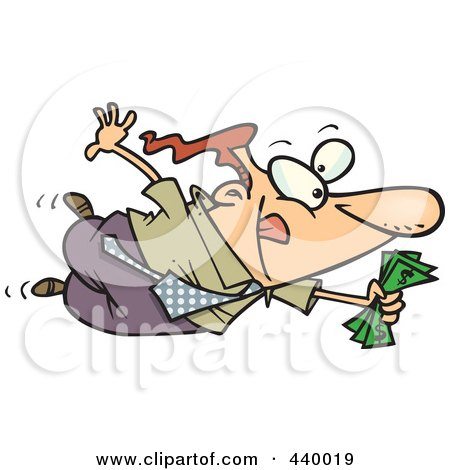 Royalty-Free (RF) Clip Art Illustration of a Cartoon Businessman Flying Towards A Good Deal by toonaday