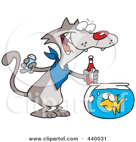 Royalty-Free (RF) Clip Art Illustration of a Cartoon Cat Seasoning A Goldfish With Ketchup by toonaday