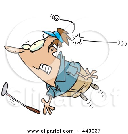 Royalty-Free (RF) Clip Art Illustration of a Cartoon Male Golfer Getting Hit With A Ball by toonaday