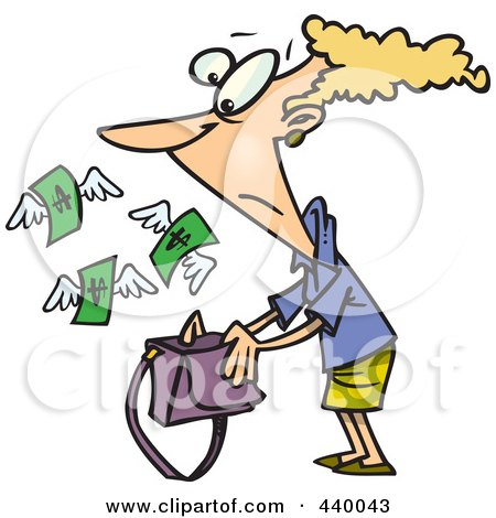 Royalty-Free (RF) Clip Art Illustration of a Cartoon Money Flying Out Of A Woman's Purse by toonaday