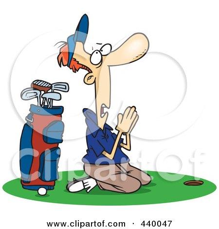 Royalty-Free (RF) Clip Art Illustration of a Cartoon Male Golfer Praying by toonaday