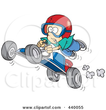 Royalty-Free (RF) Clip Art Illustration of a Cartoon Boy Catching Air On A Go Cart by toonaday