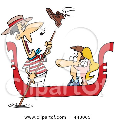 Royalty-Free (RF) Clip Art Illustration of a Cartoon Shoe Flying At A Gondolier Singing To A Couple by toonaday