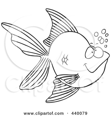 goldfish cartoon drawing. a Cartoon Black And White